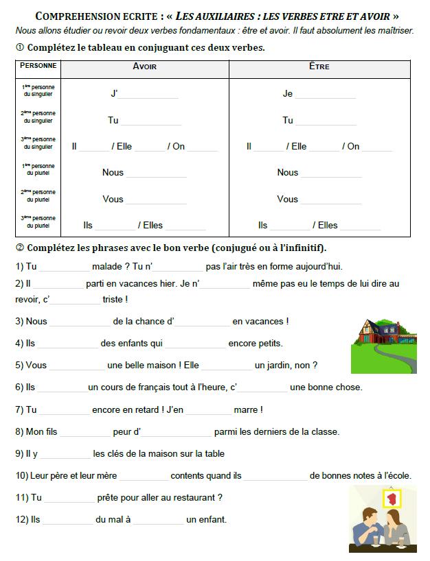 Conjugaison Les Verbes Etre Et Avoir Au Present Exercices A Imprimer