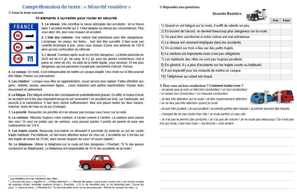 Compréhension et expression écrite : la sécurité routière ...