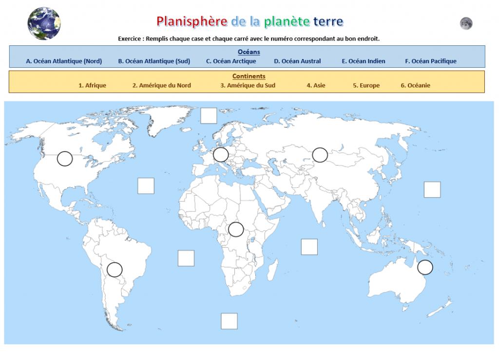 Geographie Carte Des Pays Du Monde Completer Le Nom Des Pays Et Leur Capitale Continents