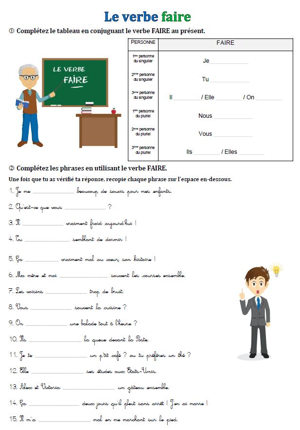 Conjugaison Exercices Sur Le Verbe Faire Exercices A Imprimer