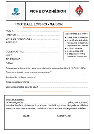 Exercice - Fiche d'adhésion club de sport