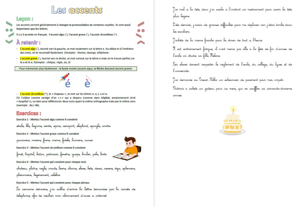 Français : Exercice sur les accents - Exercices à imprimer