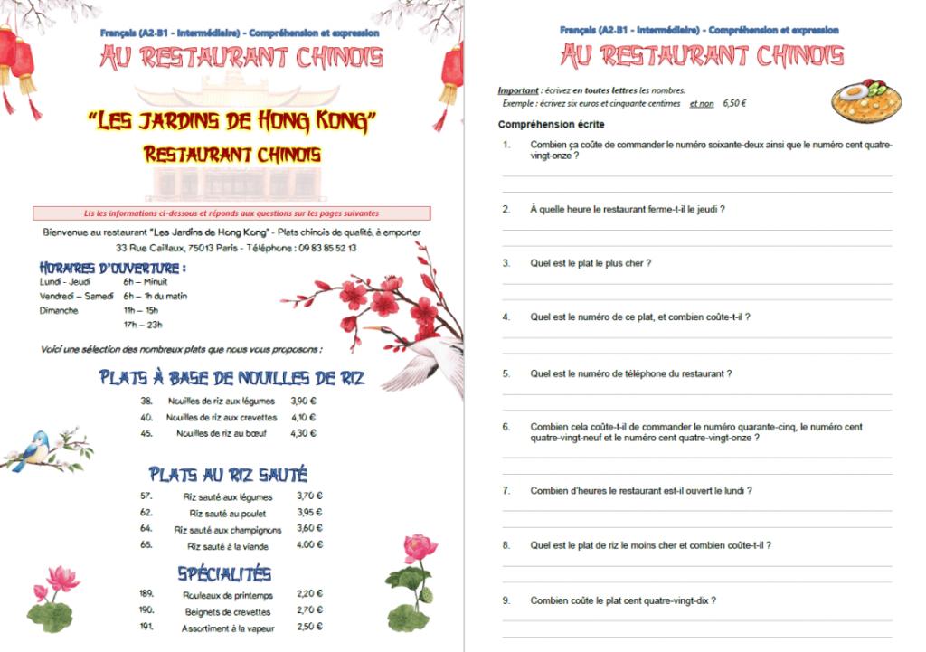 """Miniature de l'exercice """"au restaurant chinois"""""""